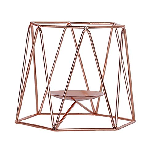 U/D Yllang Candlestick Holders Geometric 3D Candlestick Metal Candle Holder Candlestick Rack Home Table Decors (Color : Rose gold, Size : 16x19x15cm)