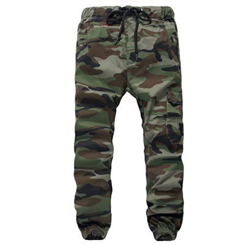 YOUJIAA Cargohose für Jungen Jogginghose mit Bündchen Drawstring Trousers Military Muster - Camo #2, 140 (Regular)