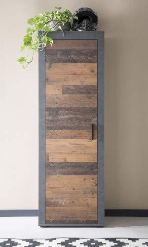 Dreams4Home Garderobenschrank Lagos Farbe Graphit/Old Wood