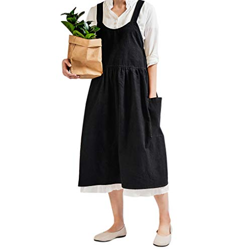 Mingtongli Baumwollleinen Latzschürze mit 2 Taschen Frauen Coffee Shop Küche Arbeit Schürze für Kochen Backen Grill, Schwarz