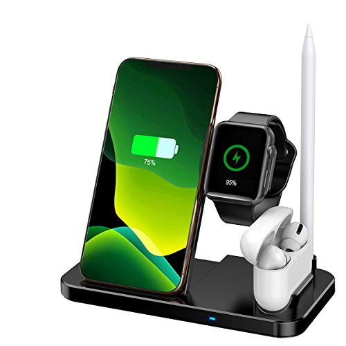Aimtel 4 in 1 Ladestation Kompatibel mit Apple Ladestation Apple Watch Ladestation Series/SE/6/5/4/3/2,Drahtloses Ladegerä für iPhone 12/11/X/XS/Max/XR/8/7AirPods Pro,Apple Pencil,Samsung Galaxy S20