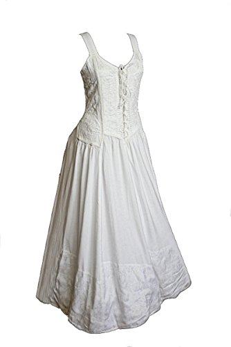 Dark Dreams Kleid Mittelalter Gothic Schnürung Audry schwarz rot grün braun weiß 36 38 40 42 44 46, Farbe:Weiss, Größe:XXL