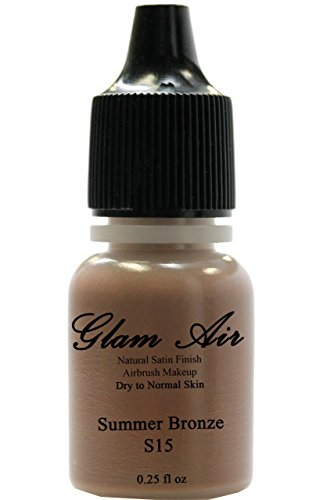 Glam Air Airbrush Makeup Water Based Foundation Choose Tapis Or Satin Finish for Flawless Looking Skin (0.25oz Bottles) (S15 Summer Bronze) by glamair