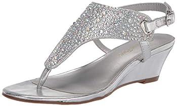 DREAM PAIRS Women s Aditi-New Silver Low Wedge Dress Sandals - 9 M US