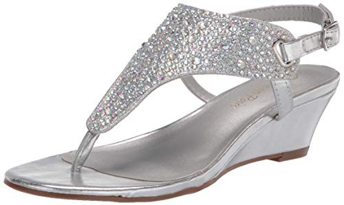 DREAM PAIRS Women's Aditi-New Silver Low Wedge Dress Sandals - 10 M US
