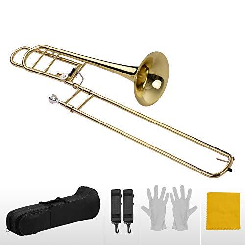 Benkeg trombón tenor slide,Trombón de diapositivas de tenor plano Bb intermedio mejorado con gatillo F, incluida boquilla, estuche de transporte, paño de limpieza