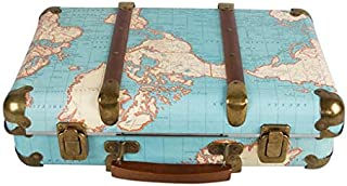 Around The World Vintage Map Hard Suitcase Storage