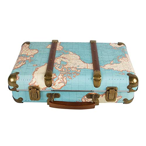 Around The World Vintage Map Hard Suitcase Storage