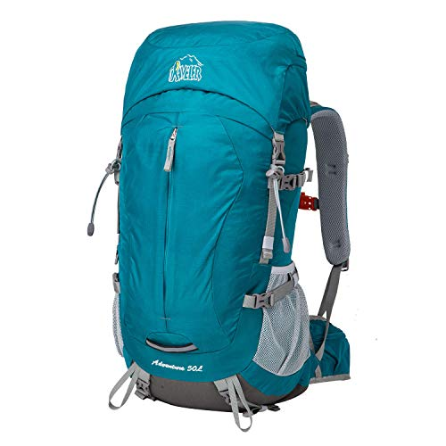 Aveler 50L Unisex Lightweight Nylon Internal Frame Hiking Backpack with Rain Cover (50L-Teal)
