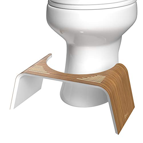 Squatty Potty Contempo Slim Teak Finish and White Toilet Stool, 7 Inch Height, 1 Count