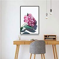 キャンバスペインティング 北欧のポスターピンクの花壁アートプリントポスターとプリントキャンバス絵画壁の写真リビングルームの装飾家の装飾 50x75cm