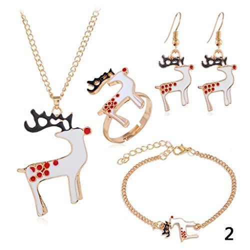 weikexiong 5 Unids/Set Mujeres Collares Campana Elk Luna Papá Noel Colgante Collar de Oro Pulsera Pendiente Anillo Combinación Moda