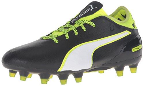 PUMA Men's Evotouch 2 FG Soccer Shoe, Black/White/Safety Yellow/Grey, 8.5 M US