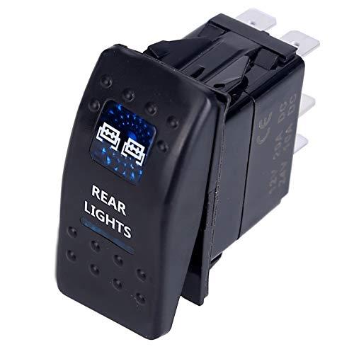 1 Uds., Interruptor de coche, barco, camión, luz, interruptor de palanca LED, 5 pines, resistente al agua, 12/24 V, estilo de barra, interruptor de palanca azul, interruptor de luz trasera inversa tip