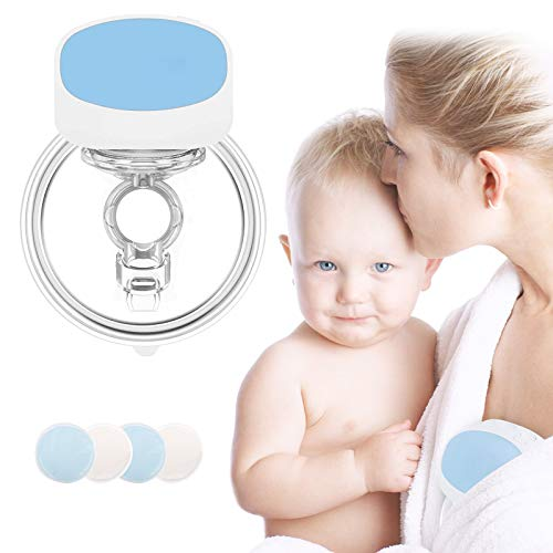 Hands Free Wearable Breast Pump Electric Breast Pumps Portable Breastfeeding Breastpump with 4 Spill-Proof Cloth Cover, 5 Levels, 2 Mode, Comfortable, Rechargeable, Ultra-Quiet Pain Free Breast Pump