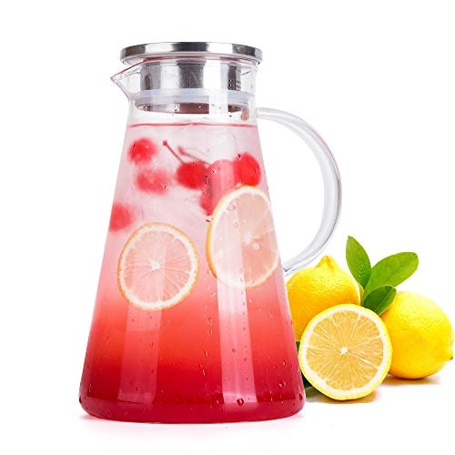 FZCRRDU KOCCAE 68 Ounces Clear Glass Pitcher with Stainless Steel Lid.Water Carafe.Glass Pitcher for Hot/Cold Water
