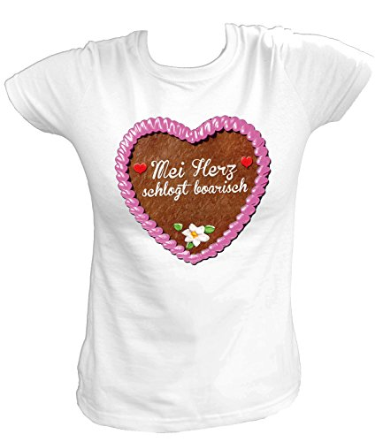 Artdiktat Damen T-Shirt - Lebkuchenherz - MEI Herz Schlogt Boarisch Größe XXL, Weiß