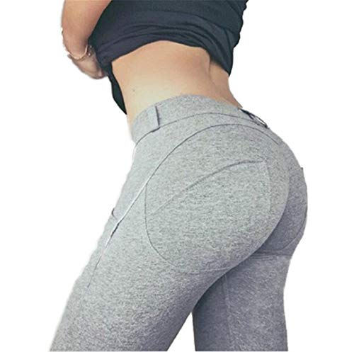 Leggings de Cintura Baja Push Up Leggings Casuales elásticos Fitness para Mujeres Sexy Pantalones Bodybuilding Leggin Gary L