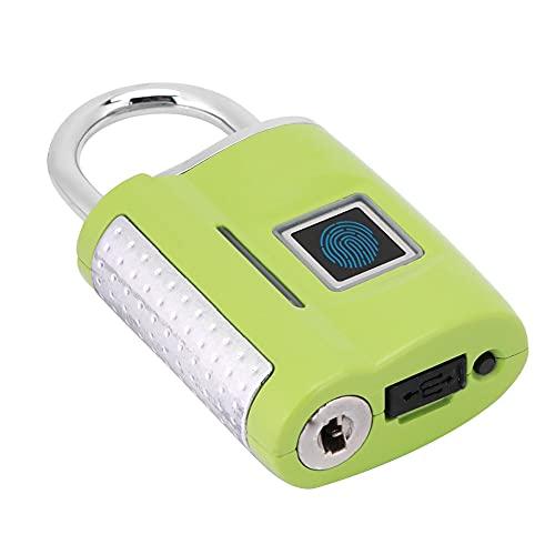 Blocco per impronte digitali, sblocco rapido TSA Lock Robusta barra di bloccaggio in lega con materiale in lega di zinco e design leggero e compatto per bloccare The Secret Guard The Door(verde)