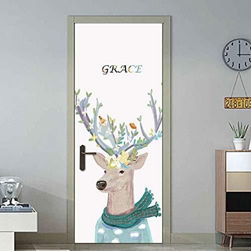 YSJHPC 3D-Türaufkleber-Tür-Wand-Papier-Wandbild, Weißer Minimalistischer Hintergrund, Niedliche Karikaturtiere, Hirsch 80*200CM PVC-wasserdichte selbstklebende -Tür-Wand-Tapete-Kunst-dekorative Wand-A