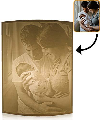 Lampe Mit Eigenem 3D Foto Drucken Lassen Gewölbte Form 14x18 cm Mit Ständer| Personalisierte Geschenke, Foto-Geschenk, LED Dekoration, Gravur Geschenke