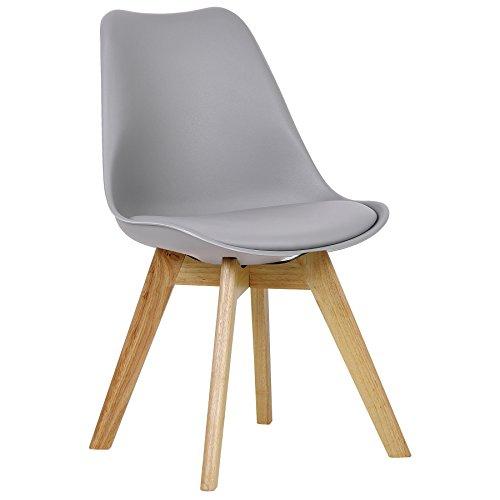 WOLTU BH29gr-1 1 x Esszimmerstuhl 1 Stück Esszimmerstuhl Design Stuhl Küchenstuhl Holz Grau
