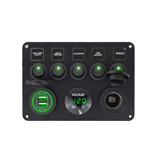 RJJX Panel de interruptores de Barco Panel de Interruptor de automóvil Impermeable Digital Dual USB Voltímetro Puerto 12V Outlet Combinación Marina LED Rocker 5 Gang (Color : Green)