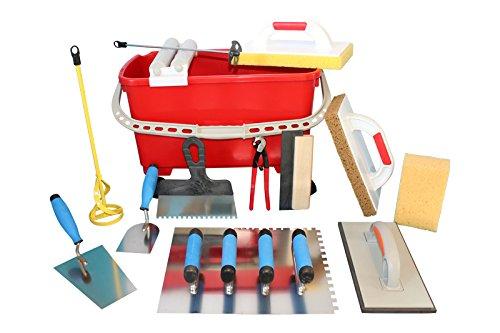 Grosses Fliesenwaschset Fliesenwascheimer 23 Liter + Werkzeuge Rührer Glättekellen Fliesenlochzange Hydro-Waschbrett uvm.