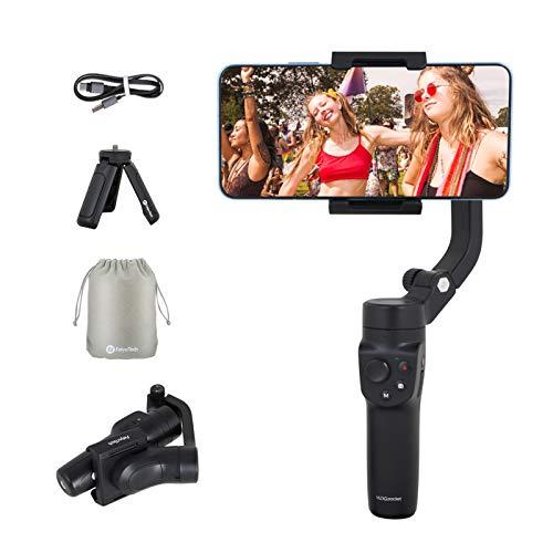 FeiyuTech VLOG Pocket 2 Tragbarer Telefon-Kardanstabilisator, 3-Achsen-Handstabilisatoren Zeitraffer-Gesichtsverfolgungsbewegung für iPhone-Serie/Huawei P30 Pro, Find X, Samsung Note9 by (Schwarz)