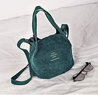 Designer Handbags Women Bag Vintage Corduroy Shoulder Bags New Corduroy Bucket Shoulder Handbags - Green