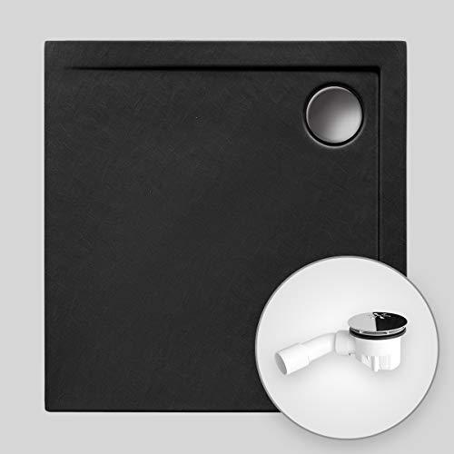 Duschwanne AQUABAD® Comfort Neo BlackStone quadratisch 100 x 100 cm, Steinoptik schwarz, Extraflache Acryl-Duschtasse, Aufbau-Höhe: 4,5 cm, Ablaufgarnitur Viega Standard