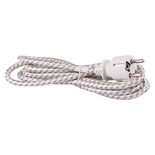 EMOS KF-CR1 S00003 Bügeleisen-Anschlussleitung 1x 2,4 m/Zuleitungskabel/Anschlusskabel/Bügeleisenkabel textilummantelt (Textilgewebe) Weiß/Grau / 3X 0,75 mm / H05RR-F