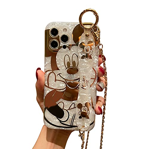 Filaco Cartoon Case for iPhone 12 Pro Max, Cute Mickey Sparkle Bling Cover with Metal Chain Strap, Wrist Strap Kickstand Soft TPU Shockproof Protective for Women & Girls