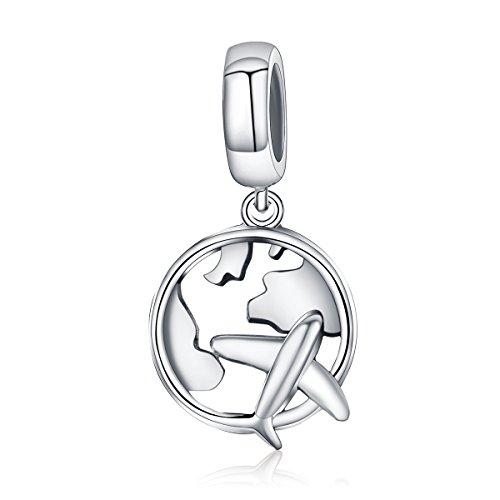 Abalorio de plata de ley 925, diseño de mapa de sueño y avión, para pulseras de abalorios, perfecto para mujeres y niñas