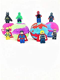 Five Superhero Inspired Kids Bath Bombs Mini Figure Gift Set with Surprise Toy Figure Inside