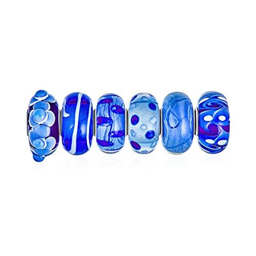 Conjunto mixto de plata de ley 925 con núcleo de tonos translúcidos de cristal de Murano azul con forma de remolino de cristal de Murano 3D y espaciador para pulseras europeas