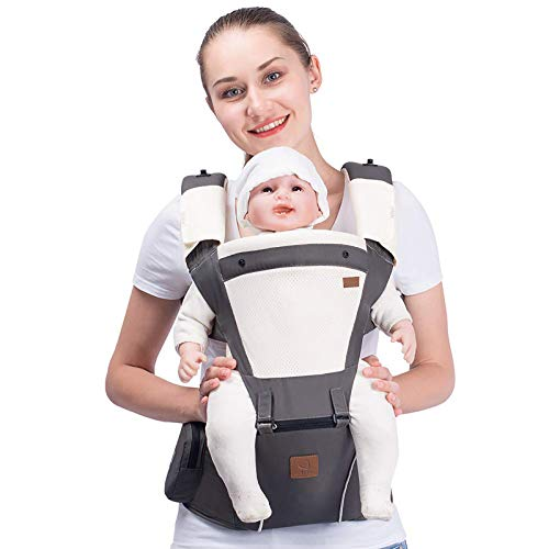 Bebamour New Style Designer Sling and Baby Carrier 2 in 1,Approved by U.S. Safety Standards with 2 Pieces Teething Pads,,Dark Grey