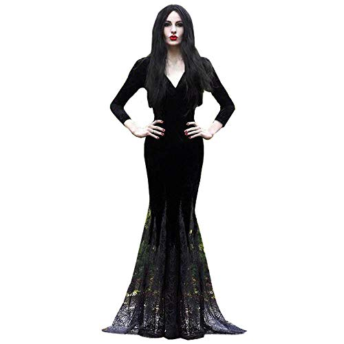 Women's Mermaid Costume Maxi Dress V Collar Black Lace Dress Halloween Cosplay Party Gown Elegant Vestidos Lapel Rope (L, Black)
