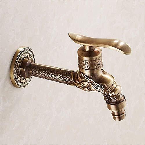 AWMSSR Grifo de jardín Grifos de Lavabo de baño Pastoral Europea Cobre Antiguo 4 Puntos Grifo de Lavadora Oro Retro Boquilla de Agua rápida Grifo único Grueso y frío