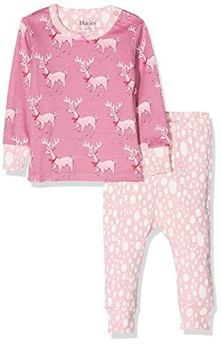 Hatley Mini Organic Cotton Long Sleeve Pyjama Sets Ensemble, Rose (Darling Deer 650), 18-24 Mois (Taille Fabricant: 18M-24M) Bébé Fille