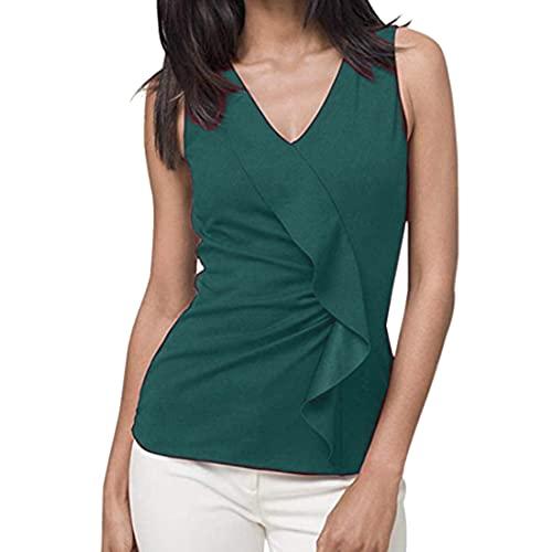 DOLAA Damenhemd Ärmelloses Leibchen Einfarbiger Knopf V-Ausschnitt Slim Fit T-Shirt Weste Sommer-T-Shirt Lässig Sommer Ärmelloses Rüschen-T-Shirt Tanktops V-Ausschnitt Weste Ärmelloses Tanktop