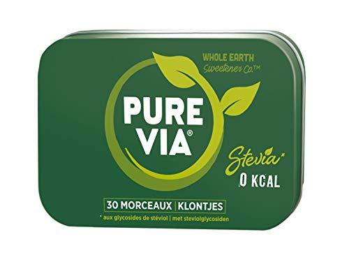 PURE VIA - Boîte Métal 30 Morceaux de Sucre - Stevia - Zéro Calorie - Lot de 3