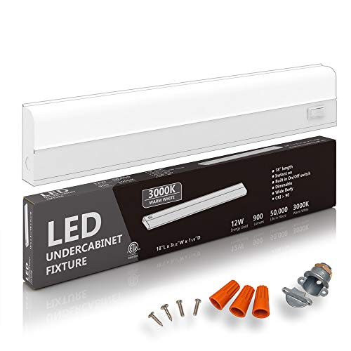 Hardwired LED Under Cabinet Task Lighting - 12 Watt, 18', Dimmable, CRI90, 3000K (Soft White), Wide Body, Long Lasting Metal Base with Frost Lens