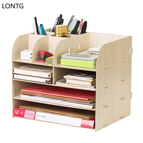 Organizador de escritorio de madera 4 compartimentos, estante con ...