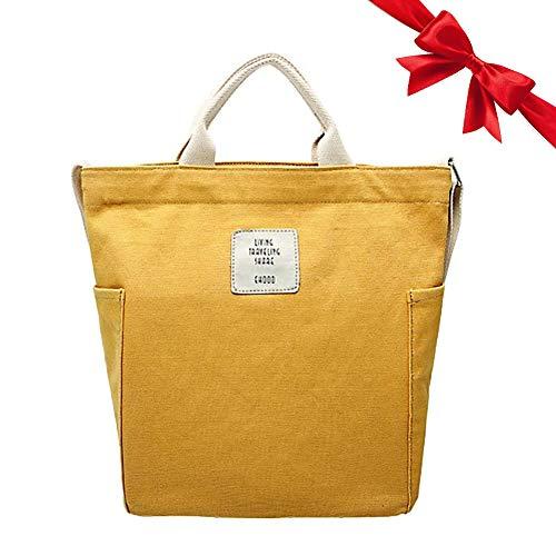 Gindoly Casual Handtasche Damen Canvas Chic Schultertasche Damen Henkeltasche Schulrucksack Große umhängetasche Tasche gelb
