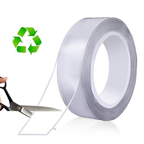 MEMX Nano Cinta de Doble Cara, Cinta de Montaje Multiusos Resistente de 5 m, Reutilizable, Extraíble, Sin Rastros, Adhesivo de Agarre de Gel Fuerte para Montar Alfombras, Hogar, Decoración de Oficina.