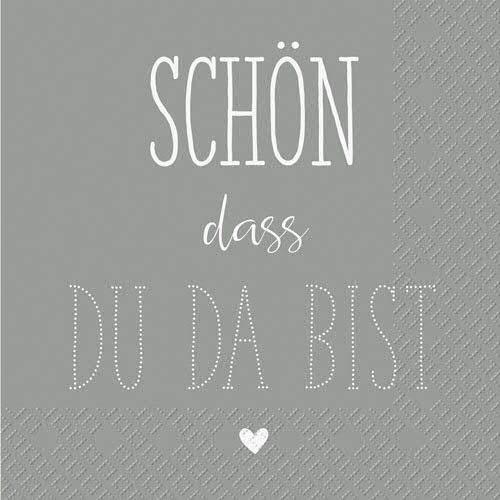 Schöne Servietten mit Spruch - Schön, DASS du da bist - Sparpackung: 100 Stück - 25cmx25cm - Schlichte Tischservietten/Sprücheservietten/Tissueservietten
