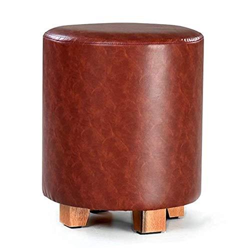CZWYF Panca in Legno Panca for Scarpe Girevole in Pelle Poggiapiedi Poggiapiedi Imbottito con Base in Metallo Sgabello Tondo con 4 Gambe (Color : Dark Brown, Size : 29x35cm)
