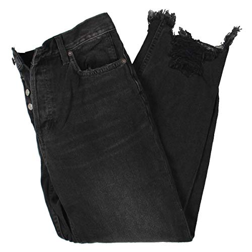 Free People Chewed Up Mid-Rise Straight Jeans Black 25 27
