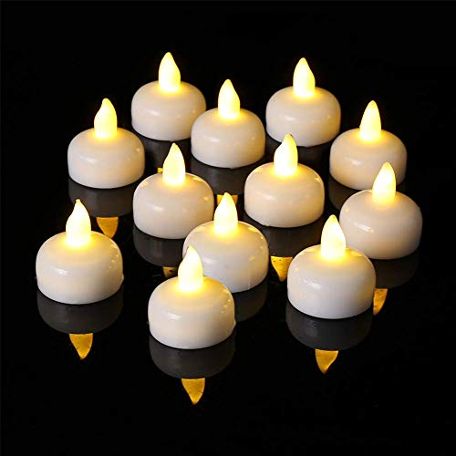 24 Pack Waterproof LED Floating Tealights, Flameless Flickering Tea Light Candles, Battery Operated Floating Candles for Wedding Centerpiece, Pool & SPA, Warm White Lights